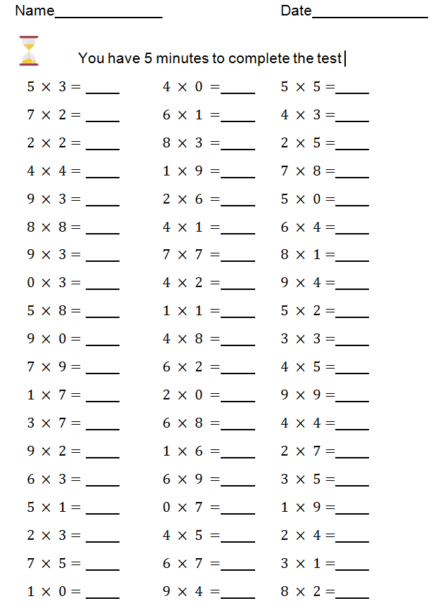 Times tables speed test